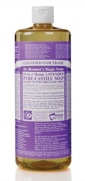 32oz bottle of Dr. Bronner's lavender scented liquid castile soap