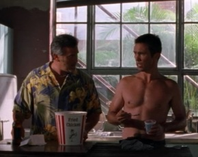 scene from the tv show Burn notice. two men standing in a kitchen. man on left, Sam, is a little chubby wearing a Hawaiian shirt with a large tub of fried chicken on the counter in front of him. man on right, Michael, is shirtless and very muscular and fit and is eating a cup of yogurt