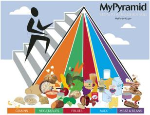 new US food pyramid, featuring vertical categories of the whole grains, fruits, vegetables, dairy, and lean proteins with a stick figure person climbing the pyramid to represent exercise. next to it is the old food pyramid.